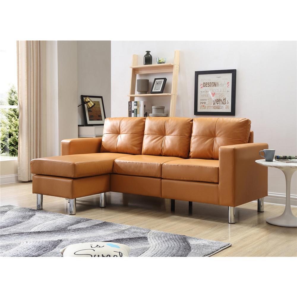 Terrific Mocha Small Space Convertible Sectional Sofa 73030 40Mc Lamtechconsult Wood Chair Design Ideas Lamtechconsultcom