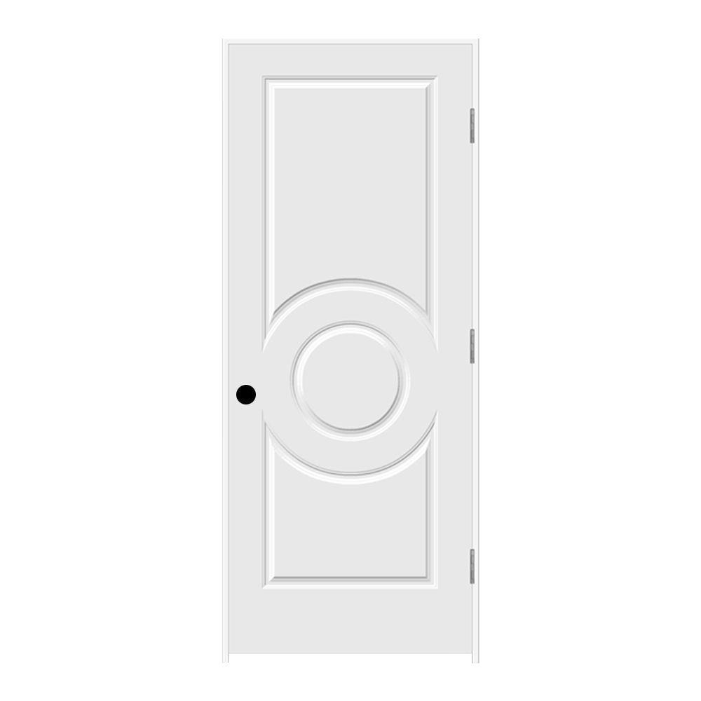 JELD-WEN 32 in. x 80 in. Primed Left-Hand C3140 3-Panel Premium Composite Single Prehung Interior Door