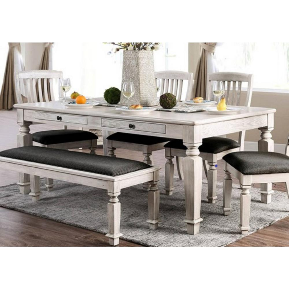 Georgia Antique White And Gray Transitional Style Dining Table