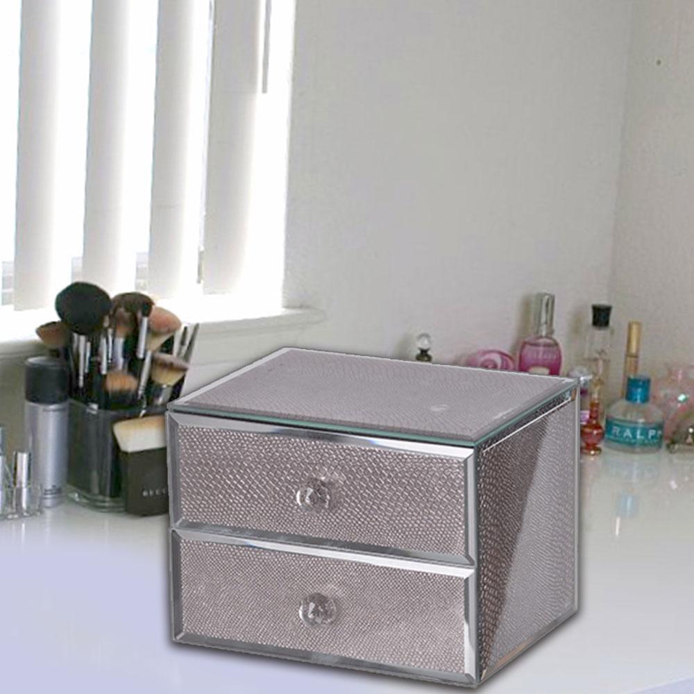 Glamorously Silver Stylish MDF and Glass Jewellery Case