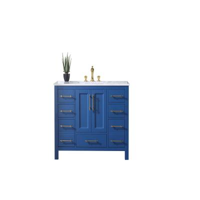 Navy 42 in. W x 22 in. D x 34.25 in. H Vanity in Blue with Carrara Marble Vanity Top in White with White Basin