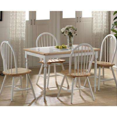 5-Piece White and Natural Dining Set
