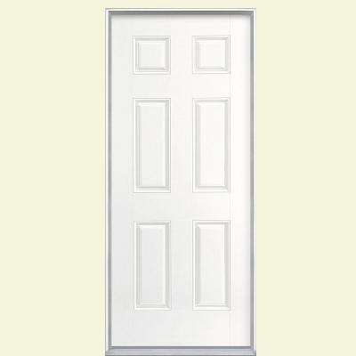 36 in. x 80 in. 6-Panel Ultra Pure White Left Hand Inswing Painted Smooth Fiberglass Prehung Front Door, Vinyl Frame