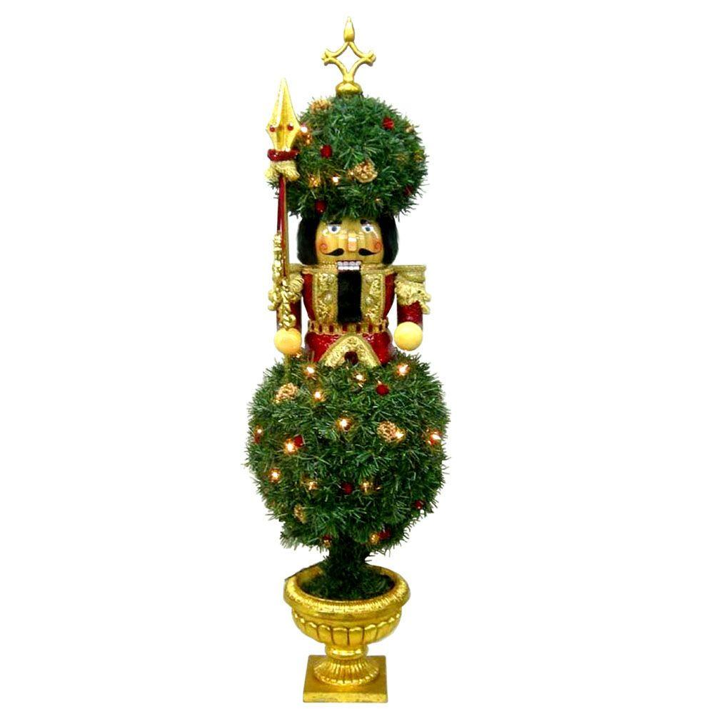 null 48 in. H Nutcracker Topiary with 35 Lights