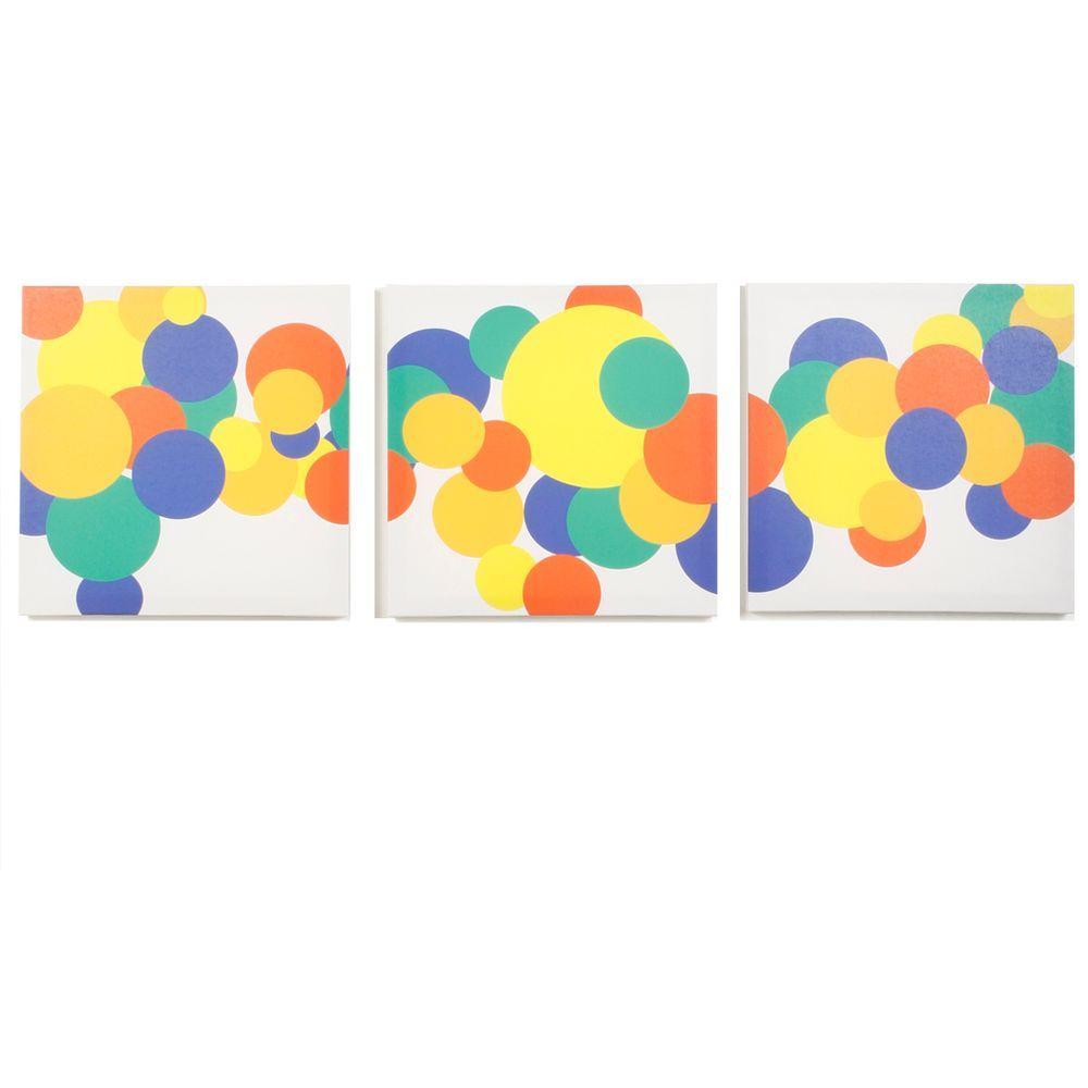 Modern Littles Rusty Boyish Bubbles Canvas Print (Set of 3)