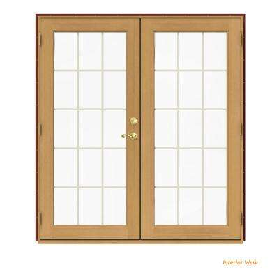72 in. x 80 in. W-2500 Red Clad Wood Right-Hand 15 Lite French Patio Door w/Stained Interior