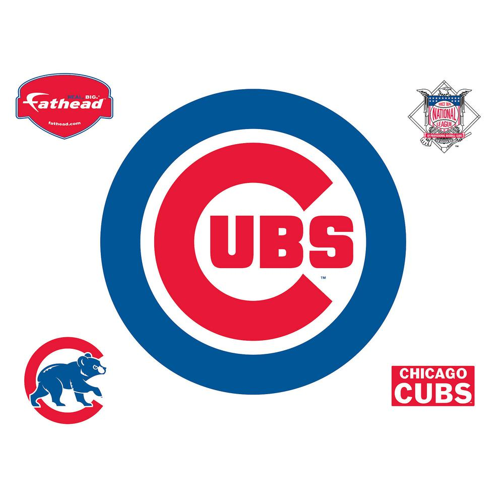 Fathead 37 in. H x 37 in. W Chicago Cubs Logo Wall Mural-63-63208 - The  Home Depot a223ffbb1