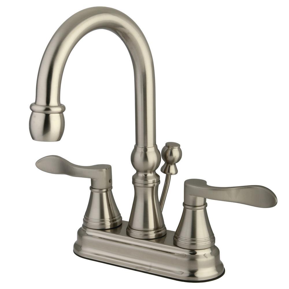 Kingston Brass Victorian 4 In Centerset 2 Handle Bathroom Faucet In Satin Nickel Hkb1608ax