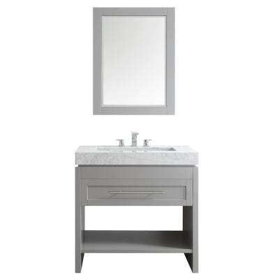 Bolzana 36 in. W x 23 in. D x 36 in. H Vanity in Grey with Marble Vanity Top in Carrara with Carrara Basin and Mirror