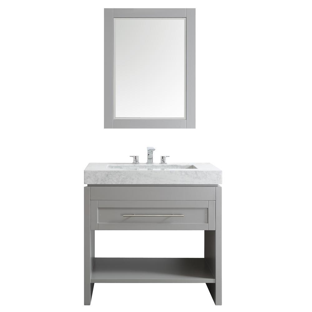 Bolzana 36 in. W x 23 in. D x 36 in. H Vanity in Grey with Marble Vanity Top in Carrara with Carrara Basin and Mirror