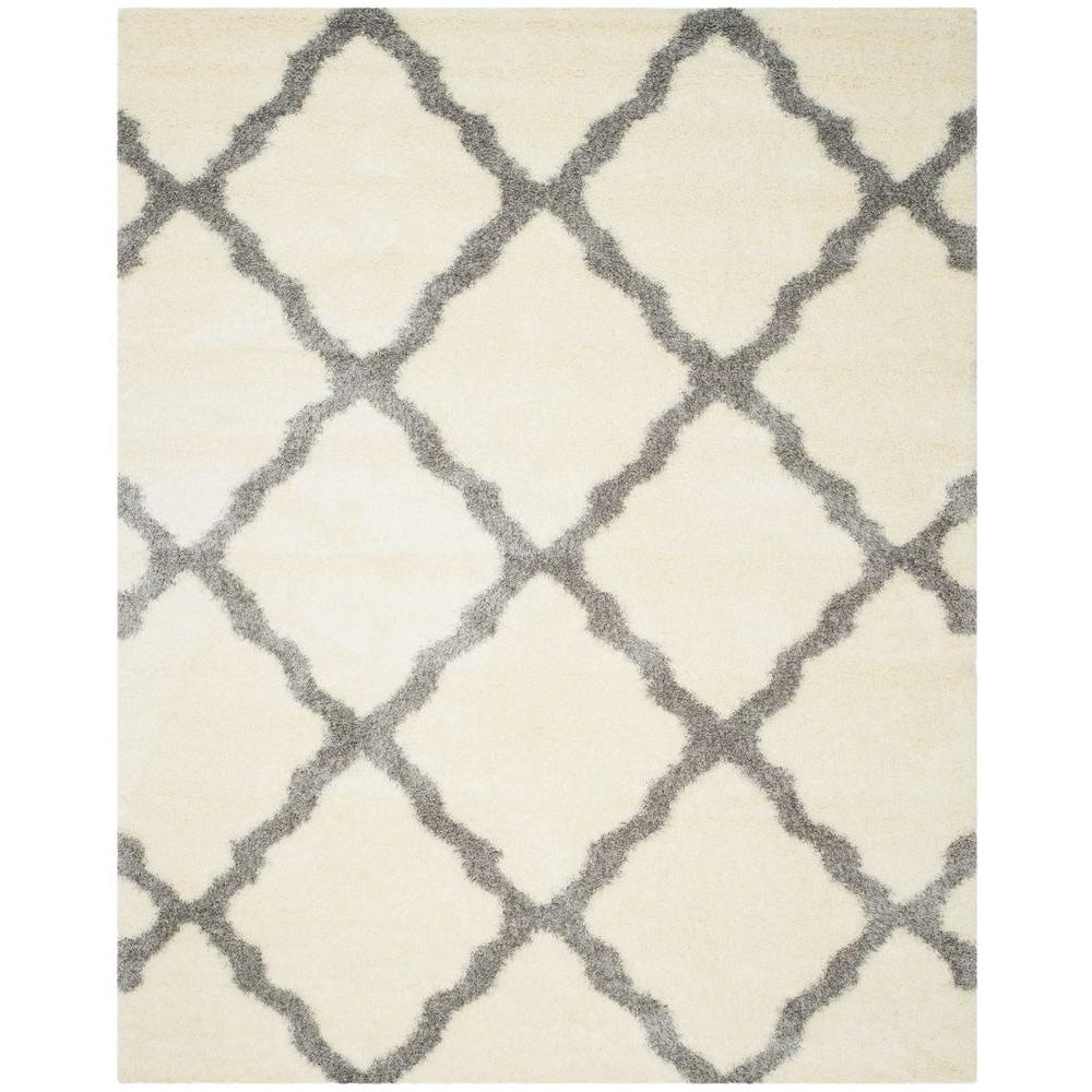 Montreal Shag Ivory/Grey 10 ft. x 14 ft. Area Rug