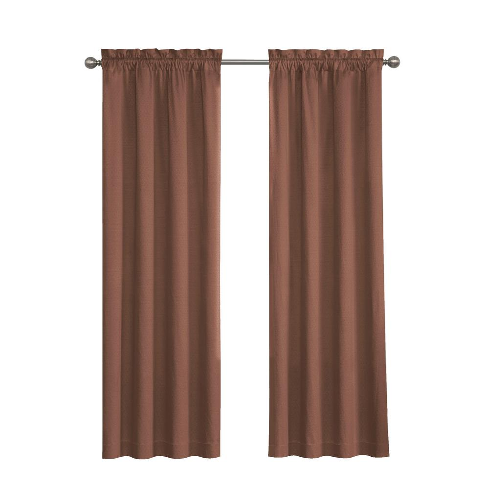 Eclipse Canova Blackout Window Curtain Panel in Chocolate - 42 in. W x 95 in. L