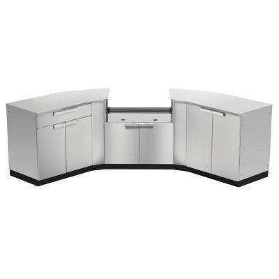Stainless Steel 7-Piece 154 in. W x 36.5 in. H x 24 in. D Outdoor Kitchen Cabinet Set