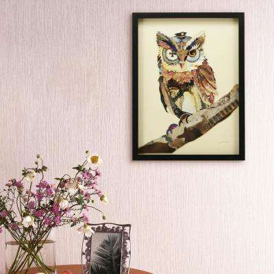 "25 in. x 19 in. ""The Wisest Owl"" Dimensional Collage Framed Graphic Art Under Glass Wall Art"