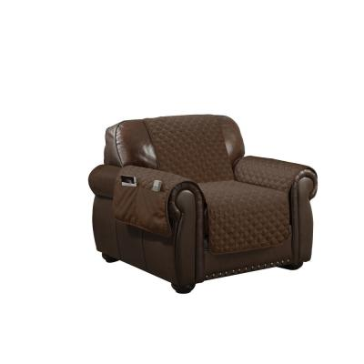 Wallace Water Resistant Chocolate Fit Polyester Fit Chair Slip Cover