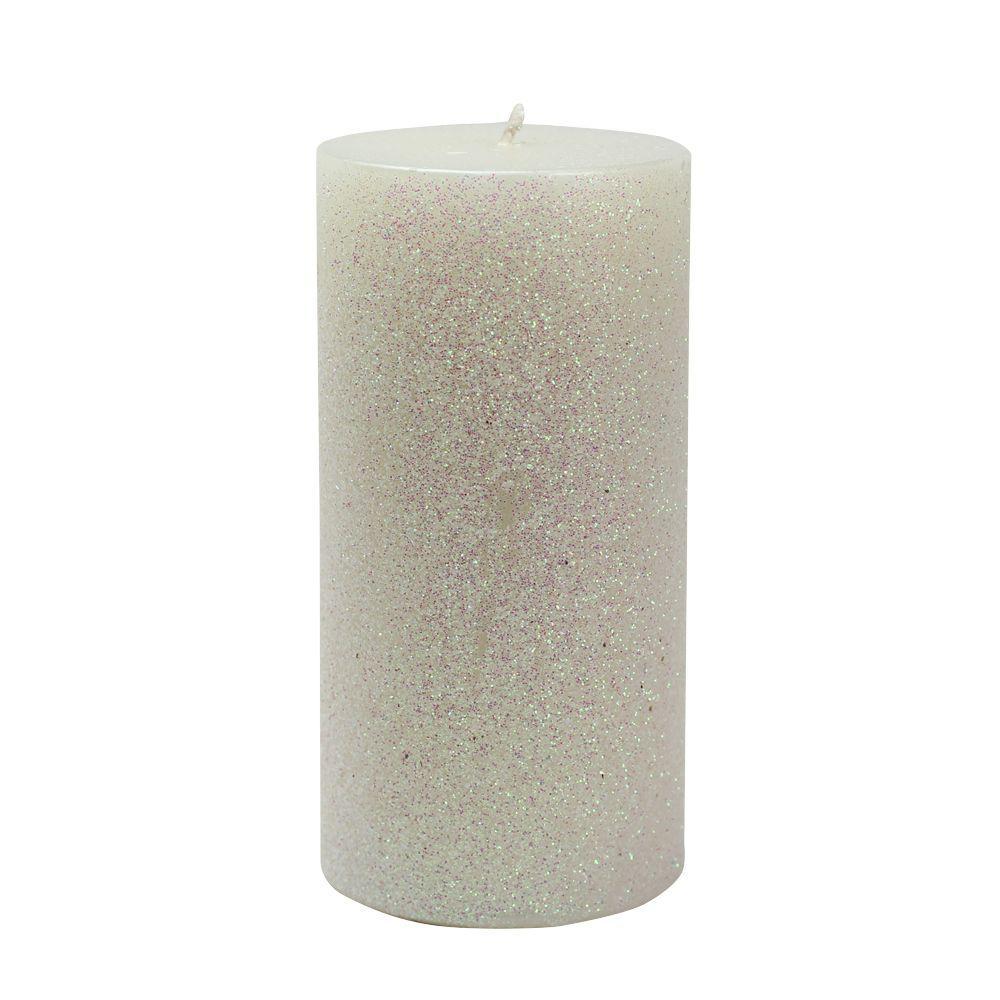 3 in. x 6 in. Metallic White Glitter Pillar Candle Bulk (12-Box)