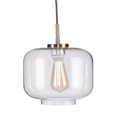 Tottle 3-Light Antique Brass Pendant with Clear Glass Shade (3-Piece Set)