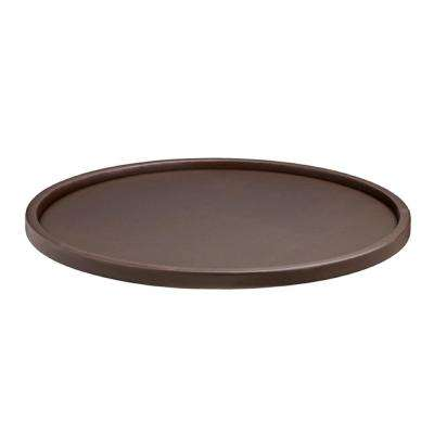 Contempo 14 in. Round Serving Tray in Brown