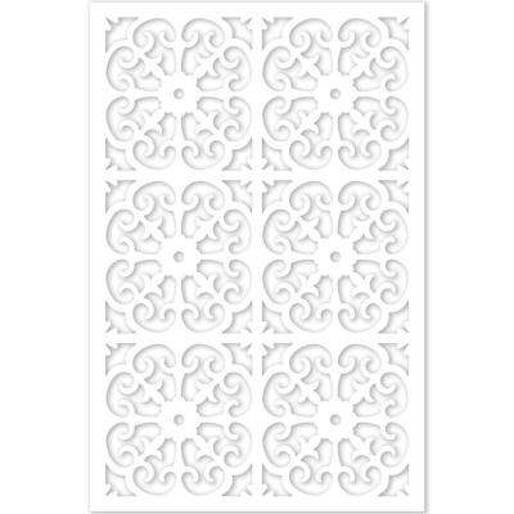 Roman 32 in. x 4 ft. White Vinyl Decorative Screen Panel