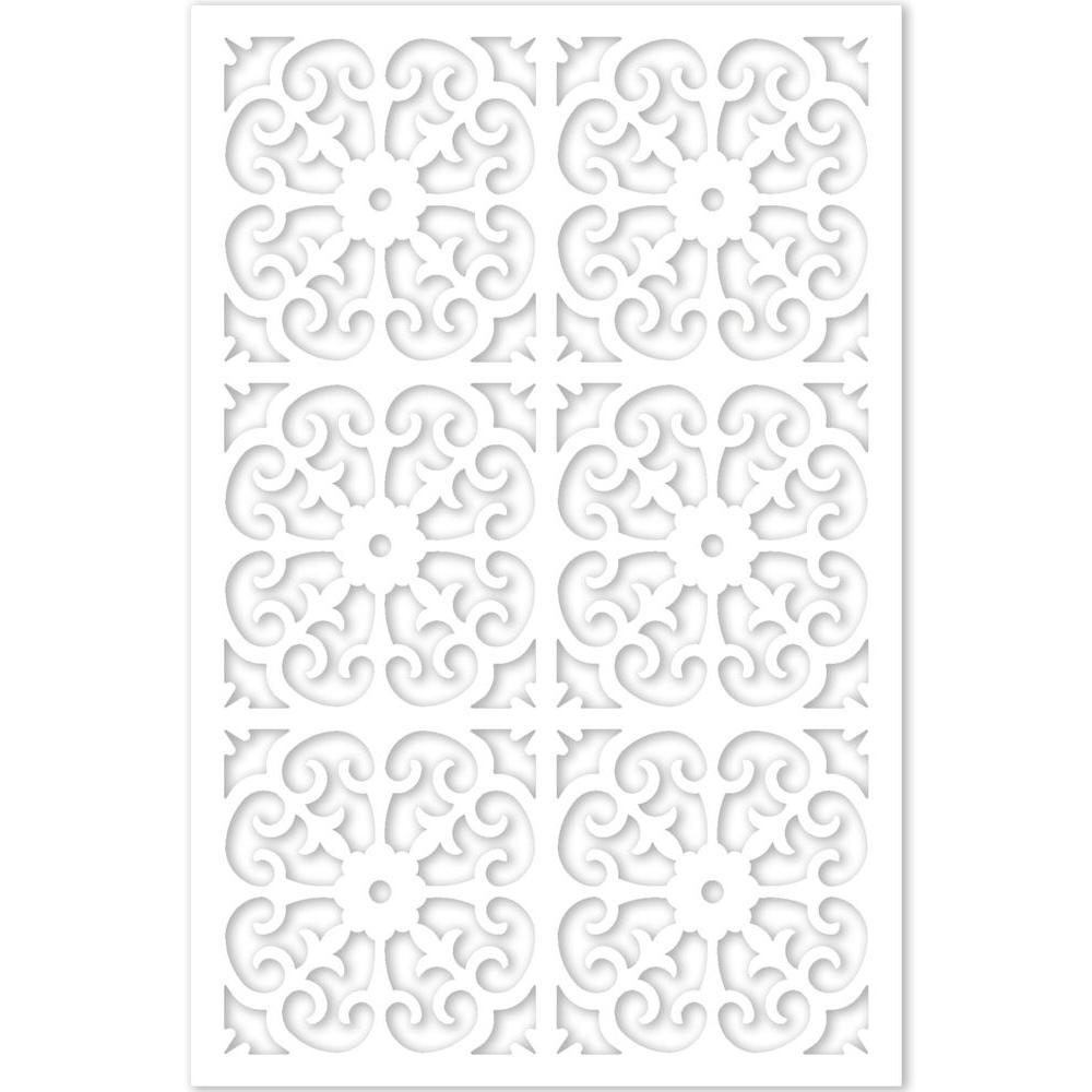 1/4 in. x 32 in. x 4 ft. White Vinyl Roman Decor Panel