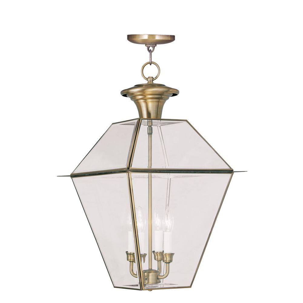 Livex Lighting Providence 4-Light Hanging Outdoor Antique Brass Incandescent Lantern