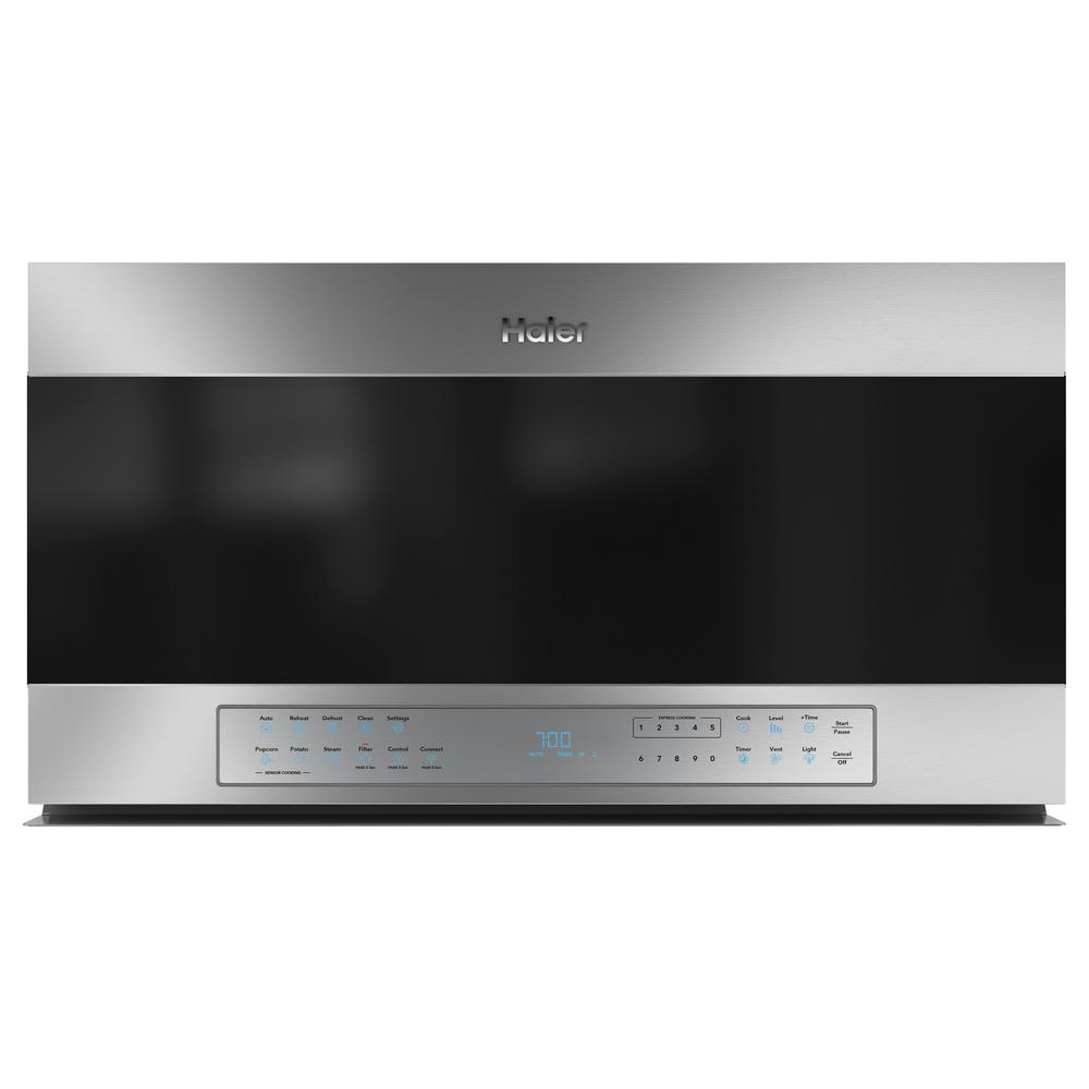 Haier 1.6 cu. ft. Smart Over the Range Microwave in Stainless Steel with Sensor Cooking