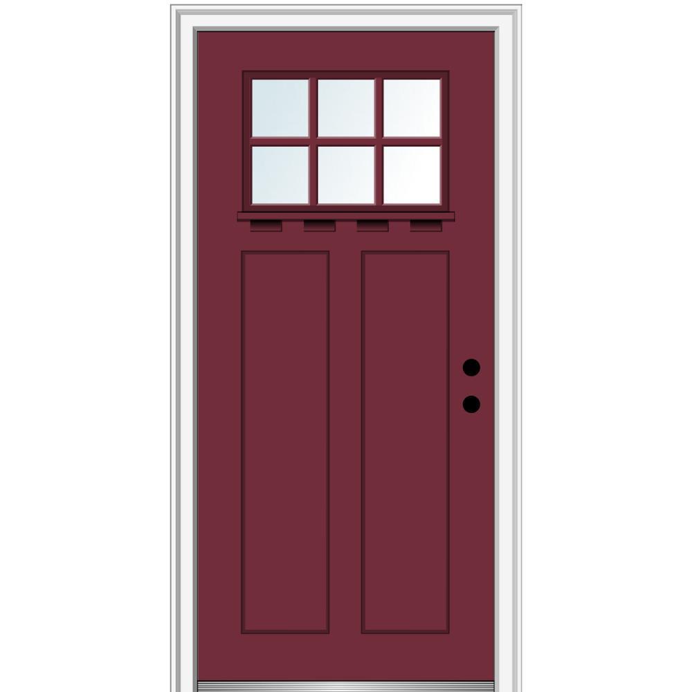 MMI Door 36 in. x 80 in. Left-Hand Inswing 6-Lite Clear 2-Panel Shaker Painted Fiberglass Smooth Prehung Front Door with Shelf
