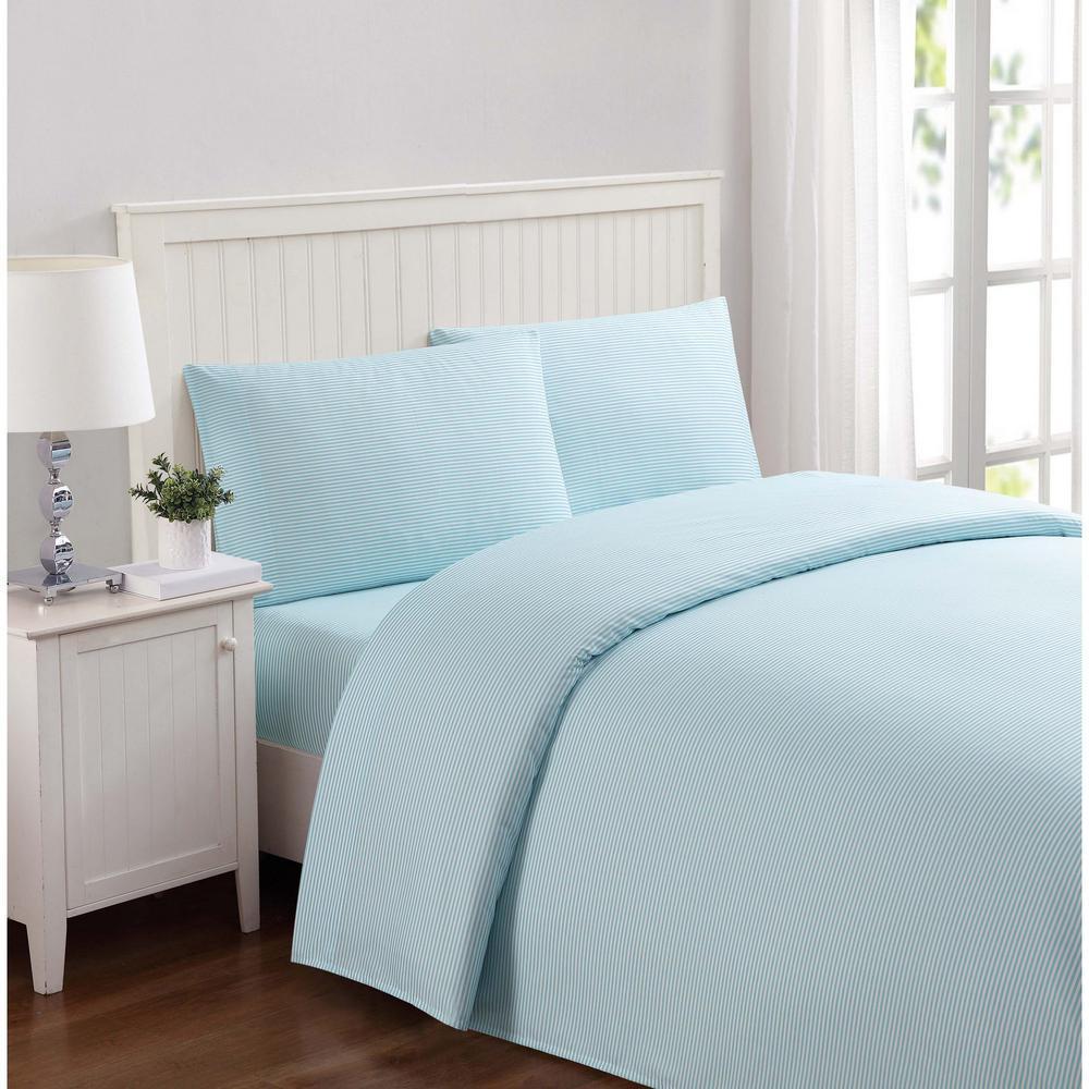 Everyday Stripe Aqua Queen Sheet Set