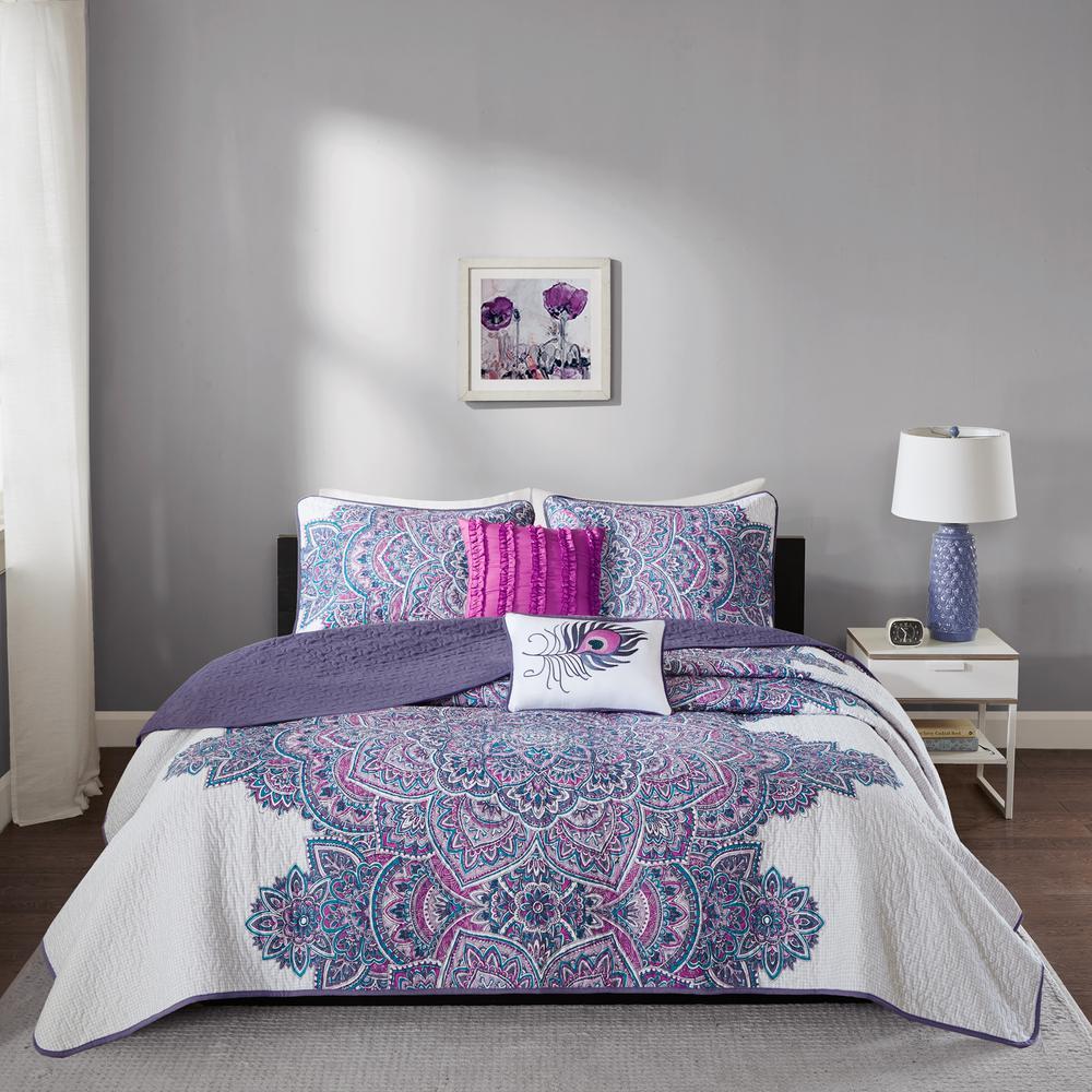 Intelligent Design Katarina 5-Piece Purple Full/Queen Abstract Coverlet Set ID14-954