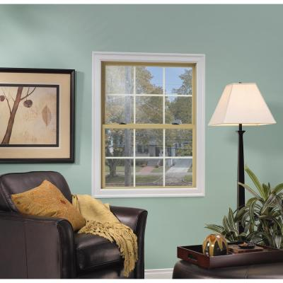 37.375 in. x 60 in. W-2500 Series Black Painted Clad Wood Double Hung Window w/ Natural Interior and Screen