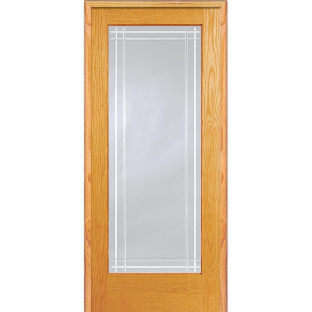 Mmi Door 30 In X 80 In Left Hand Unfinished Pine Glass Full Lite Clear Perimeter V Groove