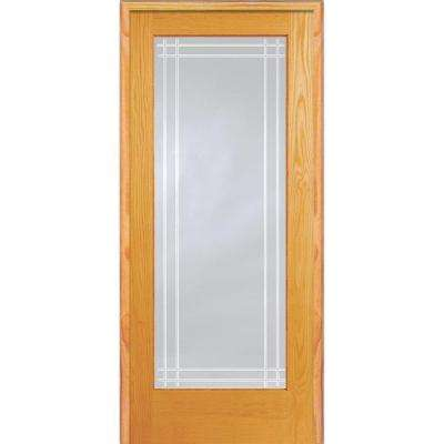 30 in. x 80 in. Right Hand Unfinished Pine Glass Full-Lite Clear Perimeter V-Groove Single Prehung Interior Door