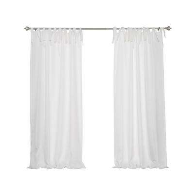 Oxford Outdoor 52 in. W x 96 in. L Tie Top Curtains in White (2-Pack)