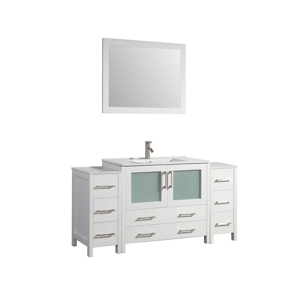 Brescia 60 in. W x 18 in. D x 36 in. H Bathroom Vanity in White with Single Basin Vanity Top in White Ceramic and Mirror