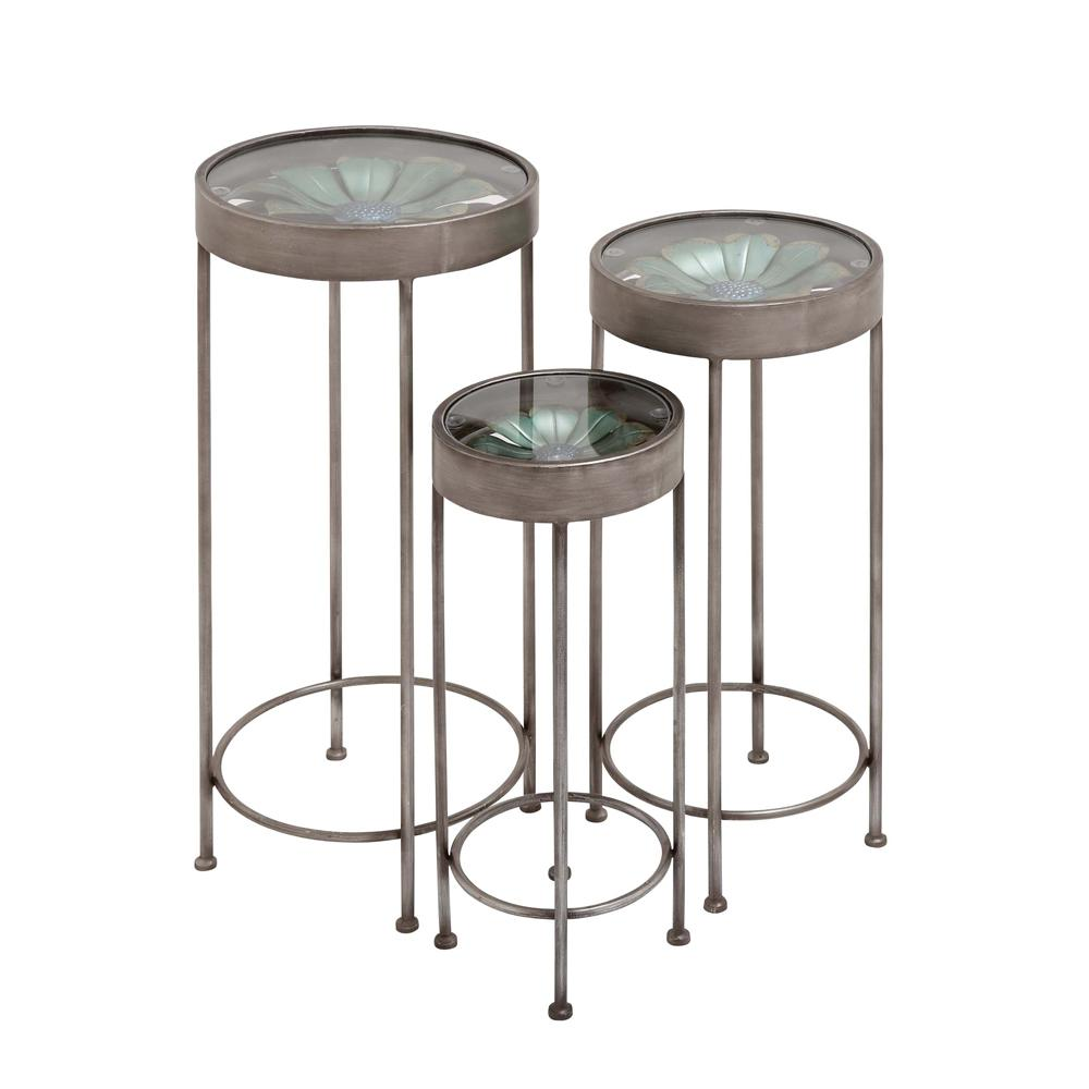 Null Metal And Glass Plant Stand Tables (Set Of 3)