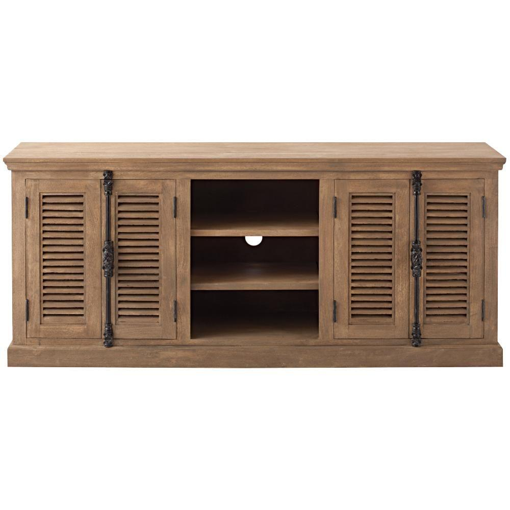 Home Decorators Collection Highland 70 in. Sandblasted Natural Wood TV Cabinet Fits TVs Up to 65 in. with Storage Doors was $929.0 now $557.4 (40.0% off)