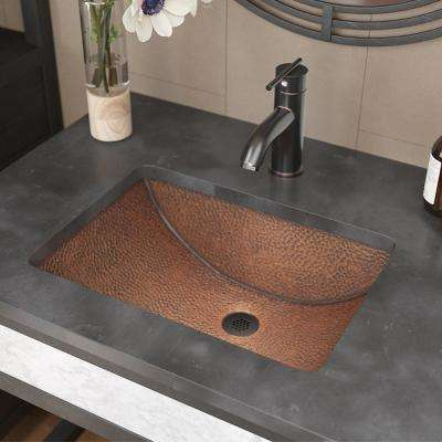 Under-Mount Bathroom Sink in Copper with Grid Drain in Antique Bronze