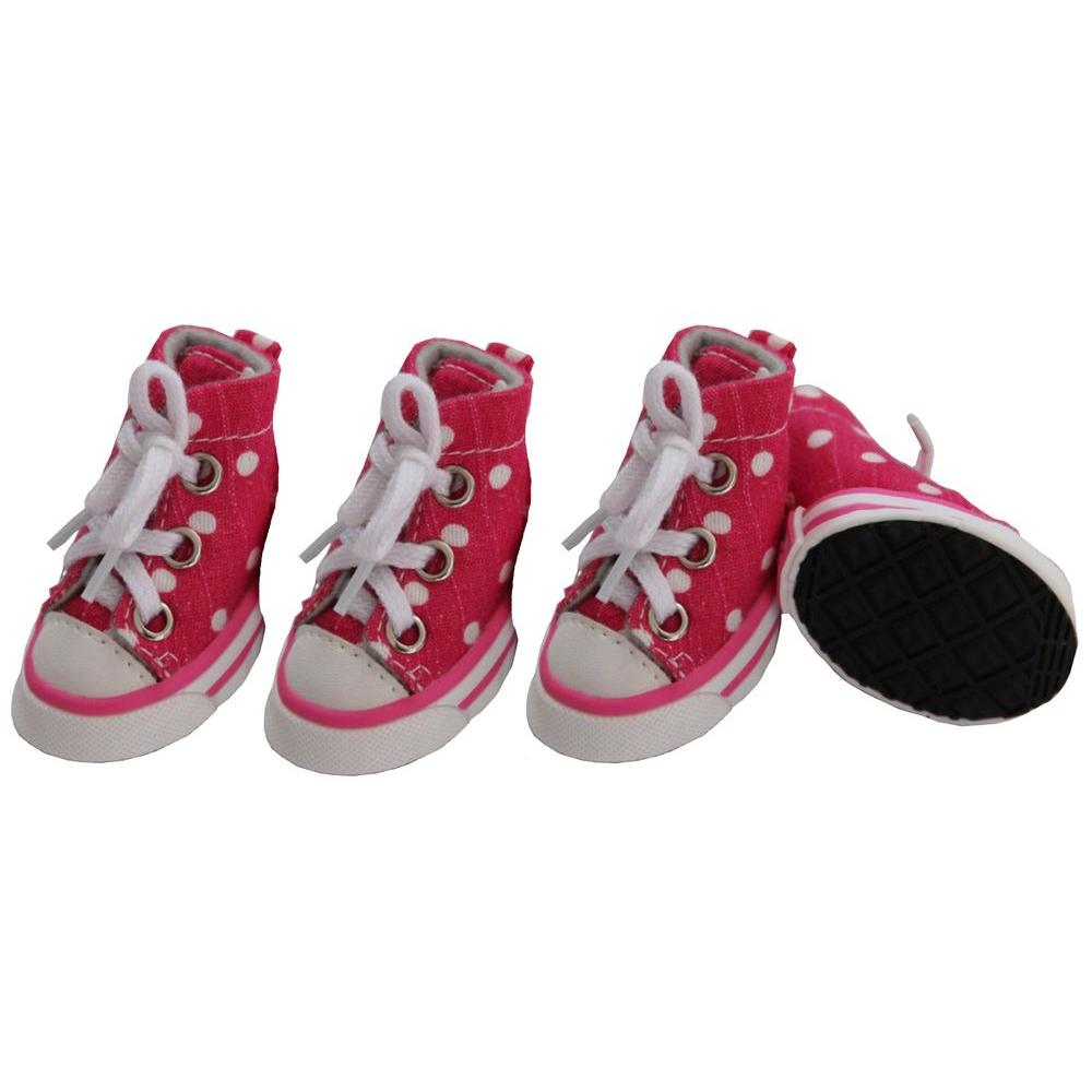 PET LIFE Large Pink Polka Extreme-Skater Casual Grip Dog Sneaker Shoes (Set of 4)
