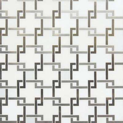 Blanco Lynx 10.47 in. x 10.4 in. x 8mm Stone & Metal Mesh-Mounted Mosaic Tile (7.6 sq. ft./case)
