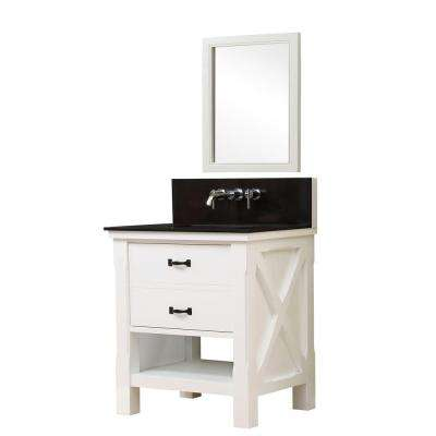 Xtraordinary Spa Premium 32 in. Vanity in White with Granite Vanity Top in Black with White Basin and Mirror