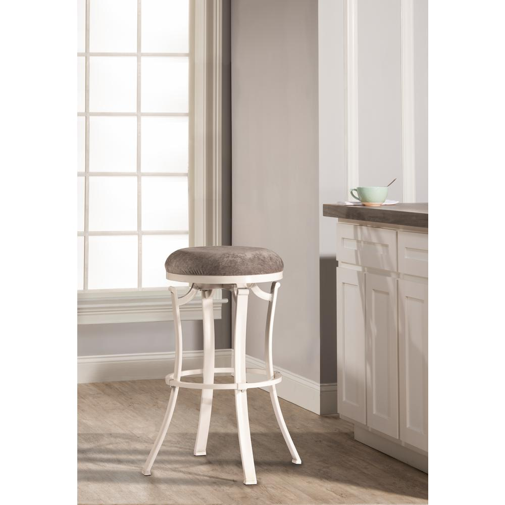 Kelford White Swivel Backless Bar Stool