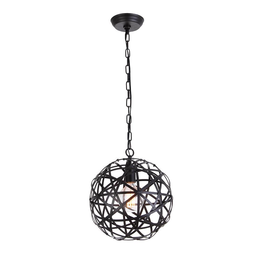 Warehouse Of Tiffany Lindrac 1 Light Black Globe Pendant