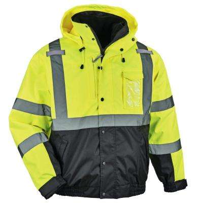 Men's Large Lime High Visibility Reflective Bomber Jacket with Zip-Out Black Fleece