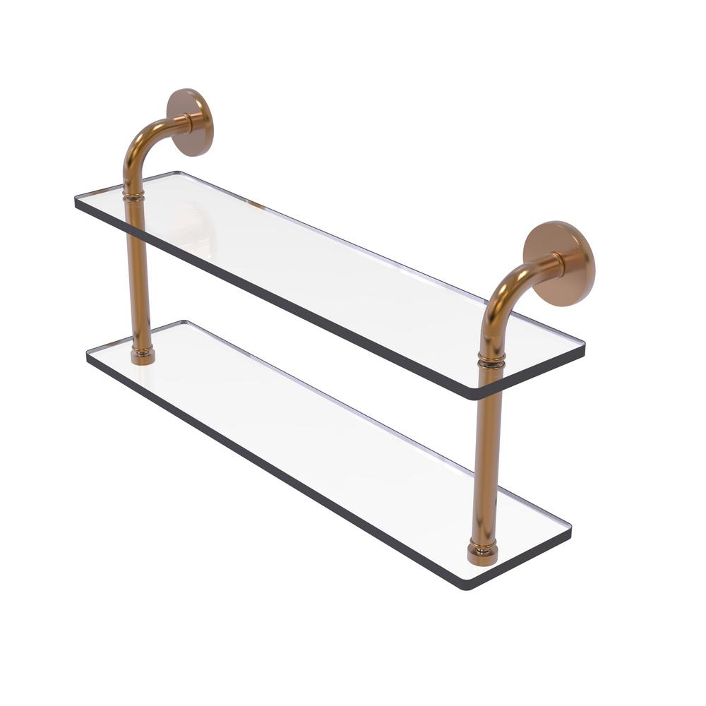 Allied Brass Remi Collection 22 in. 2-Tiered Glass Shelf in Brushed ...
