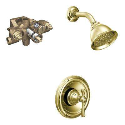 Kingsley Single-Handle 1-Spray Moentrol Shower Faucet Trim Kit with Valve in Polished Brass (Valve Included)