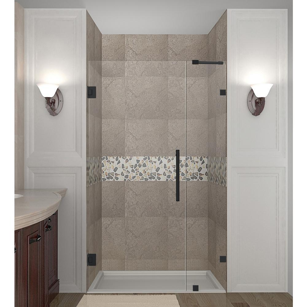 Nautis 35.25 - 36.25 in. x 72 in. Frameless Hinged Shower Door in Matte Black