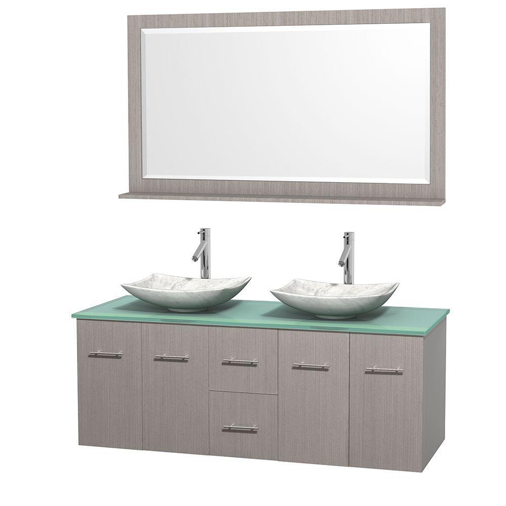 Centra 60 in. Double Vanity in Gray Oak with Glass Vanity