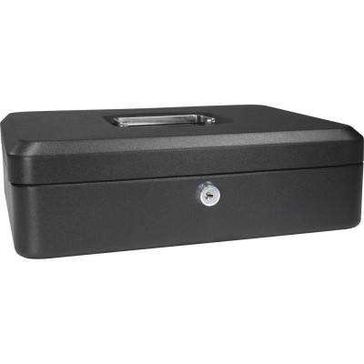 0.14 cu. ft. Steel Cash Box Safe with Key Lock, Black