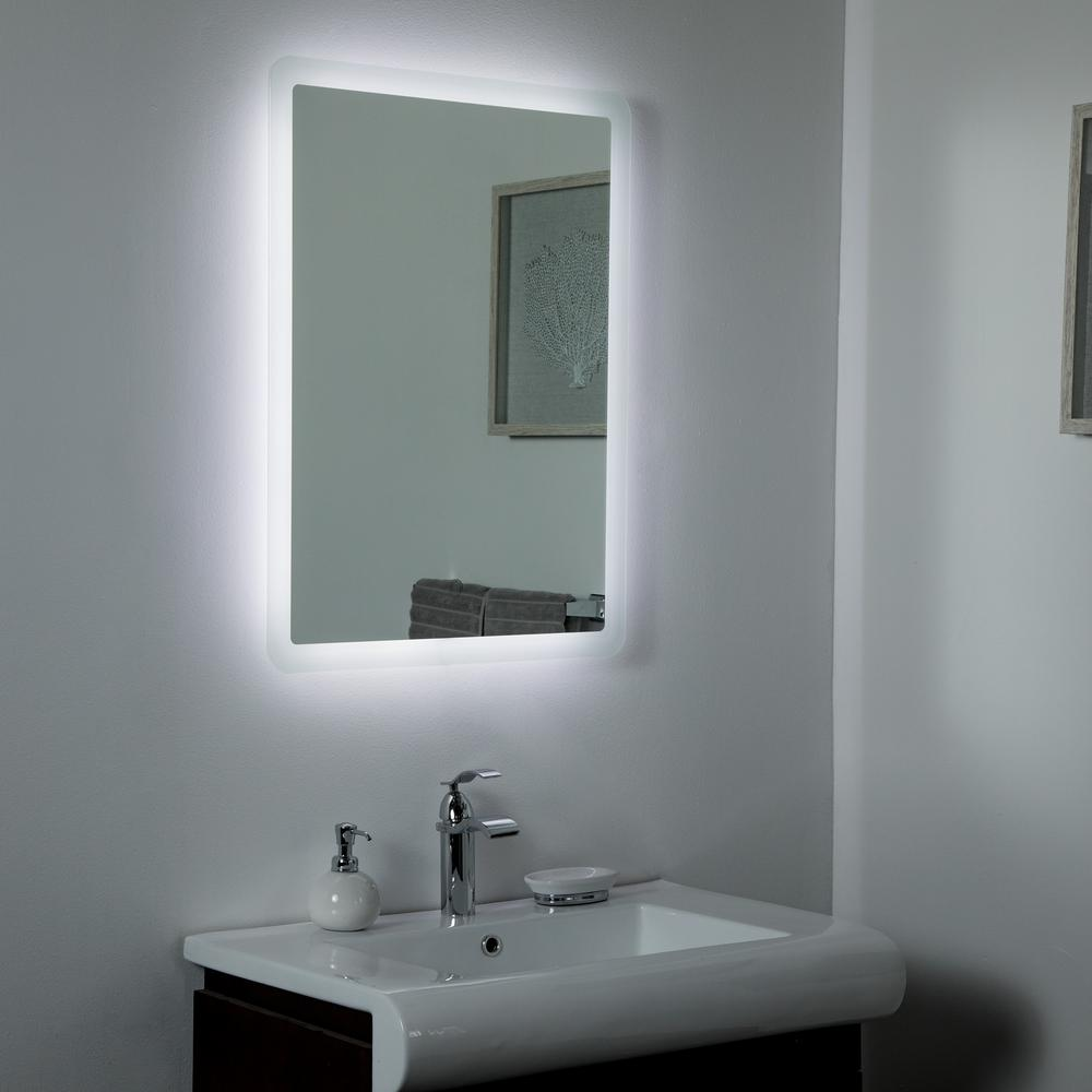 Decor Wonderland 24 In W X 32 In H Frameless Rectangular Led Light Bathroom Vanity Mirror In Silver Ssl1140 The Home Depot