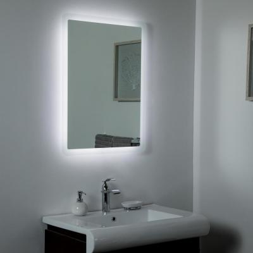 24 in. W x 32 in. H Frameless Rectangular LED Light Bathroom Vanity Mirror in Silver